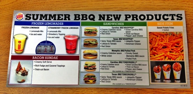 Summer BBQ New Burger King Menu