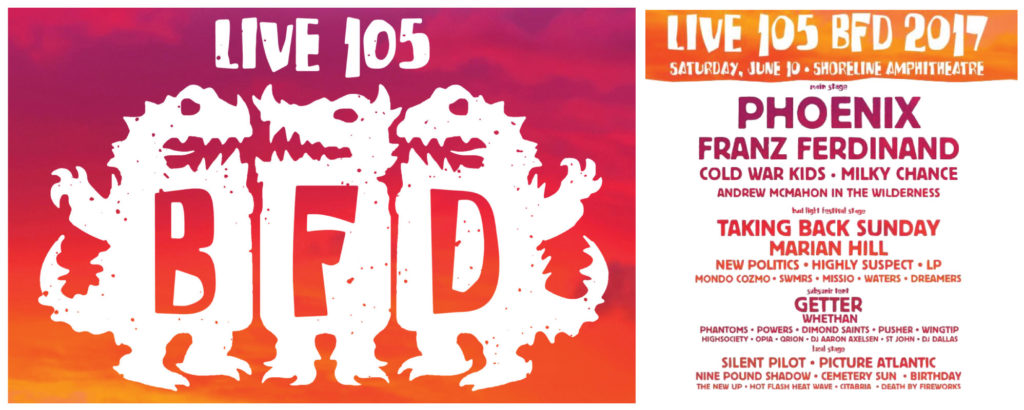 Live 105's BFD Set Times, Lineup and Shuttle Bus