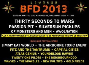 BFD Live 105 Festival Lineup tickets discounts party bus