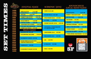 Set List Lineup for BFD 2013 Music Festival