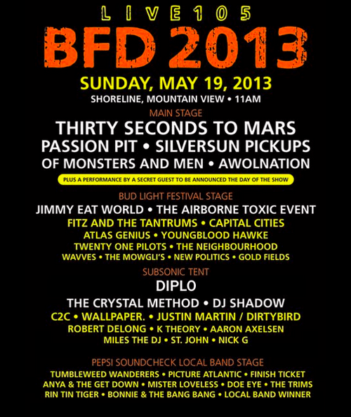 BFD Lineup 2013 Set Times