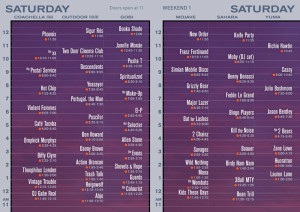 Saturday Set Times Coachella