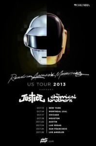 Daft Punk 2013 Tour Dates