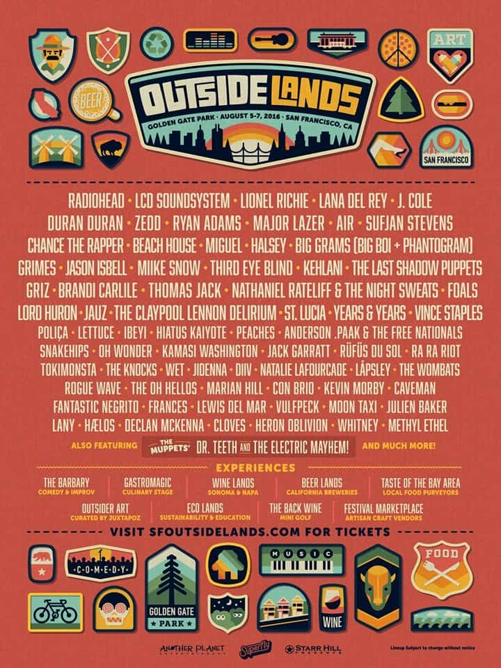 Outside Lands 2016 Lineup Ticket Giveaway