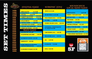 BFD Lineup and Set Times