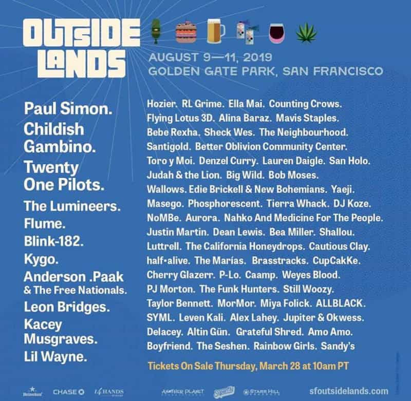 Outside Lands 2019 Lineup and Set TImes