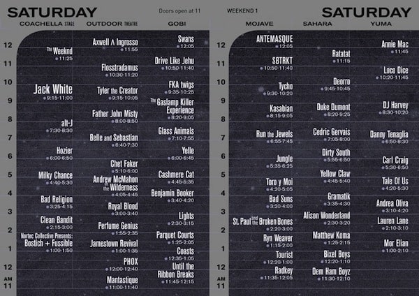 Coachella-Set Times-Saturday