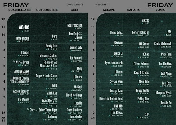 Coachella Set Times Friday