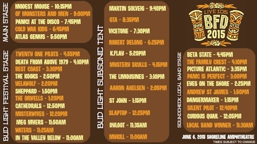 BFD Set Times 2015