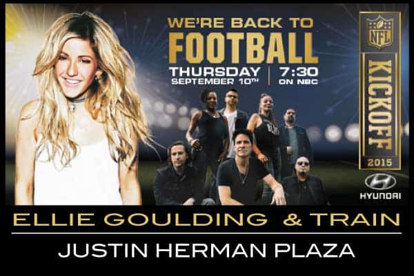 Ellie Goulding and Train Free NFL Kickoff Concert Super bowl 50