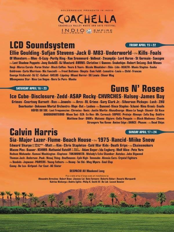 Coachella 2016 Lineup Announcement features Guns N' Roses, LCD Soundsystem. Calvin Harris and more