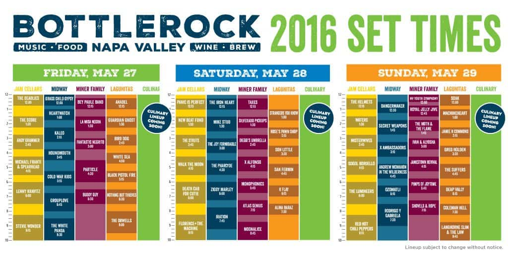 Bottlerock Set Times 2016
