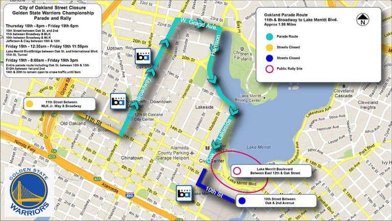 Warriors Championship Parade Map