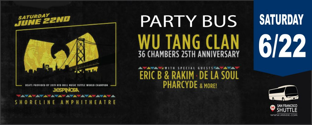 Shoreline Amphitheater Shuttle Bus to Wu-Tang Clan